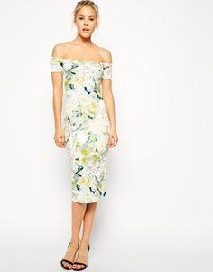 ASOS Summer Floral Scuba Bardot Dress