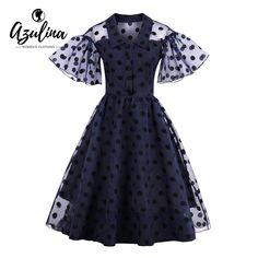 AZULINA Vintage dot summer Dress Women elegant short ruffle sleeve A Line party dress 2017 Sundress plus size Mesh Lace Dress