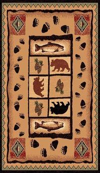 LODGE FISH BEAR PAW PRINTS WESTERN THEME 4X6 AREA RUG   US $56.50 Free S/H