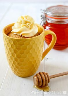 Dive your spoon into this sweet Honey Mug Cake. A soft, sticky and gooey mug cake made with honey, then topped with a delicious buttercream frosting. A delicious cake in less than 5 minutes! Love t…