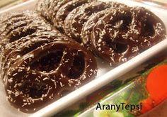 AranyTepsi: Kókuszzal szórt csokis perec Cookie Recipes, Waffles, Bakery, Pudding, Tasty, Cookies, Breakfast, Food, Recipes For Biscuits