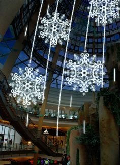 Illuminated #snowflakes set the holiday spirits high in your commercial property. #CRE #holidays #lighting