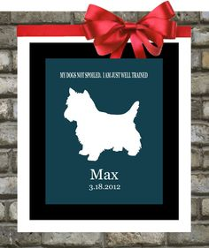 Personalized Pet Portrait Custom Dog Silhouette by Printsinspired, $18.99
