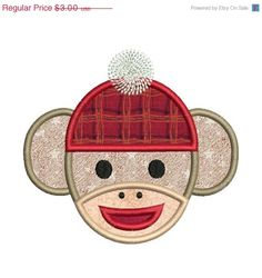 SALE 50 Off Applique Sock Monkey Face by embroiderydesignsavi, $1.50
