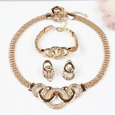 New Fashion 2017 Gold Round Pendant Necklace 18K Gold Plated Jewelry Sets For Women