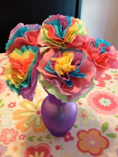 Coffee filter flower bouquet Katie and I made.