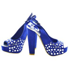 Blue Gemstone Faux Suede Slingback Heels | Sexyback Boutique