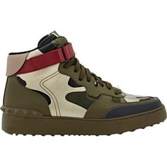 Valentino Rock Be Camouflage Sneakers ($479) ❤ liked on Polyvore featuring shoes, sneakers, colorless, lace up sneakers, flat shoes, valentino shoes, ankle wrap shoes and flat sneakers