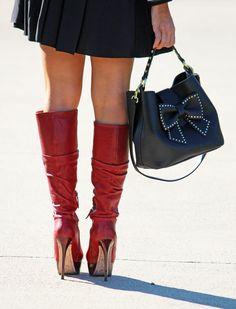 Alice & Olivia boots with Betsey Johnson bag #fashionblog #redboots #aliceolivia www.manhattantomulholland.com