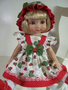"""""""Strawberries"""" Made for 10"""" Ann Estelle ~ 10"""" Patsy ~ by Treasured Doll Designs"""