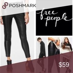 Free People Faux Leather Leggings - Elasticized waist - Concealed side zip closure - Seam detail - Faux leather construction - Skinny fit Free People Pants