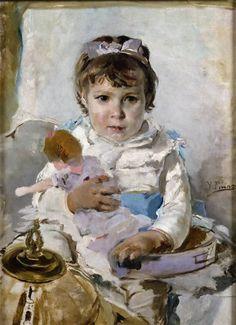 Ignacio Pinazo Camarlench. with a doll