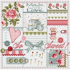 So sweet from madame la fée - cross stitch charts - cross stitch Cross Stitch Pillow, Cross Stitch Heart, Cross Stitch Samplers, Cross Stitching, Cross Stitch Embroidery, Cross Stitch Designs, Cross Stitch Patterns, Chart Design, Needlework
