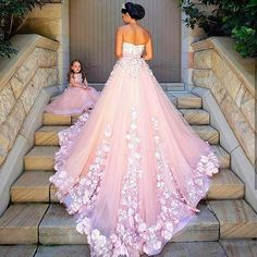 Princess Wedding Dress, Prom Dress Long, Prom Dresses,Graduation Party Dresses, Prom Dresses For Teens - Braut Pink Wedding Dresses, Tulle Wedding, Bridal Dresses, Flower Girl Dresses, Gown Wedding, Dresses Dresses, Floral Wedding, Formal Dresses, Trendy Wedding