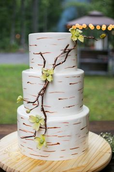 Rustic wedding cake at Black Mountain Sanctuary, Black Mountain, NC