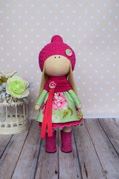 Art doll Panenka Bonita Cloth doll Rag doll Fabric doll Red