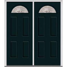 Milliken Millwork 74 in. x 81.75 in. Heirloom Master Decorative Glass 1/4 Lite Painted Fiberglass Smooth Exterior Double Door, Dark Night