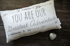 You are our greatest adventure, Personalized Pillow, Baby Shower Gift, Personalized Baby pillow, Nursery Pillow, Nursery Decor, Tribal by DecoratedRoom on Etsy