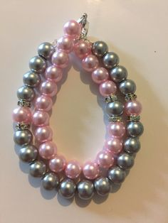 Mommy and Me Bracelet set Pink and Grey Glass Pearls by JellyBeanBracelet on Etsy