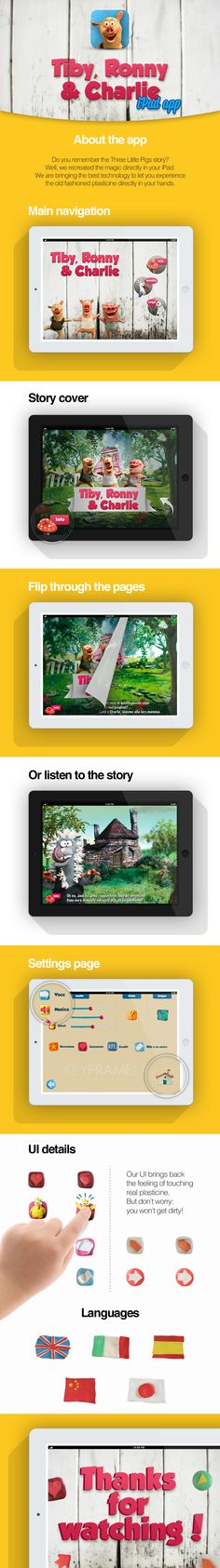 IPAD APPLICATION: Do you remember the Three Little Pigs story? Well, we recreated the magic directly in your iPad. We are bringing the best technology to let you experience the old fashioned plasticine directly in your hands. www.gigasweb.it
