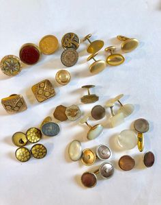 eea7d171ed12 Vintage Antique Cufflink Cuff Button Lot Singles Repair Jewelry Victorian  Asian Mother of Pearl Damascene & More. Tie ClipsAsianMother ...
