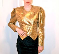 Vintage Gold Leather Jacket// Amazing Vintage 80s by Hookedonhoney, $170.00
