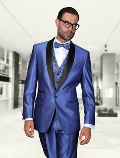 ROME INDIGO 3PC 1 BUTTON MENS SUIT WITH SATIN COLLAR AND TRIM ON THE POCKET WITH FANCY WOVEN VEST SET