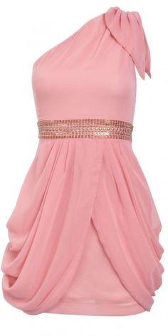 Pink One Shoulder Embellished Dress