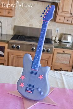 barbie standing guitar cake