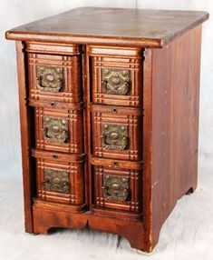 Antique American Victorian Set of 6 Sewing Machine Drawers Ornate Hardware