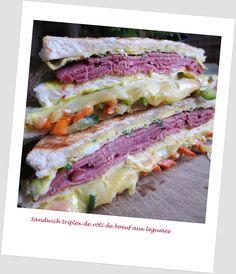Sandwich triplex de Buf et Omelette aux Lgumes / Triple Beef and Omelette with Vegetables Sandwich