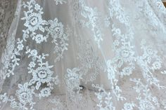 Ivory Alencon Lace Fabric Floral Wedding Lace Fabric by Lacebeauty