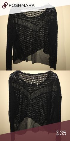 Free People black lace mesh top 100% nylon. Tags were itchy and cut out at some point but very pretty lace work Free People Tops Blouses