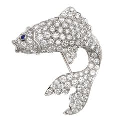 1940s Diamond Angel Fish Brooch | From a unique collection of vintage brooches at https://www.1stdibs.com/jewelry/brooches/brooches/
