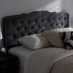 Contemporary Fabric Headboard by Baxton Studio (Queen Size-Greyish Beige)
