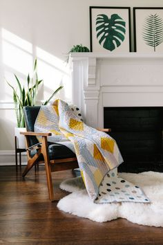 Modern Quilt pattern used in Interior Design. Beautiful textile design that you can make for your home. Create a handmade home!