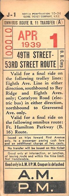 Bus transfer from Brooklyn Bus Corp. (subsidiary of Brooklyn & Queens Transit Corp.) (1939)