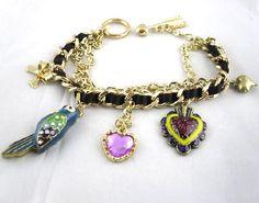 Betsey Johnson Parrot Heart Charm Bracelet ~ Free Shipping $15.95