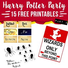 Download 15 free harry potter party printables for your next HP themed party: house elves, horcruxes, ministry of magic... PDF signs