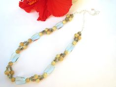 Natural stone necklace  aqua and cream by InsomniacTreasures, $45.00