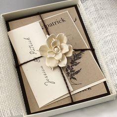 Rustic Chic Burlap Wedding Invitations Eco Friendly Boxed Invite from Beacon Lane