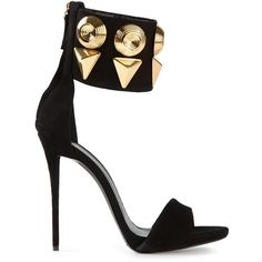 Giuseppe Zanotti Design embellished sandals ($1,070) ❤ liked on Polyvore featuring shoes, sandals, heels, sapatos, high heels, ankle strap high heel sandals, black chunky sandals, high heel stilettos, high heel shoes and black heel sandals