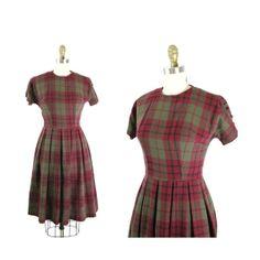 1950s Dress / 50s Dress XS Plaid Wool Day