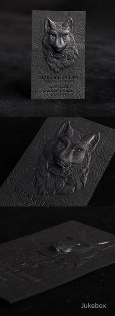 "Amazing 3D Embossed Black Business Card These outstanding black business cards feature an impressive combination of premium print services used to create the multi-level design and achieve unbelievable detail. A strong 30pt Onyx Black paper was 3D embossed in different levels to bring the wolf head to life. Produced by <a href=""http://Jukeboxprint.com"" rel=""nofollow"" target=""_blank"">Jukeboxprint.com</a>. <a class=""pintag searchlink"" data-query=""%23Jukeboxprint"" data-type=""hashtag""…"