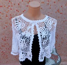 Irish Crochet White Bridal Bolero OOAK by Pamphylian on Etsy, $104.00