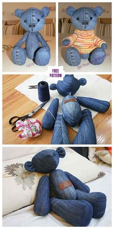 DIY cute jean teddy bear free sewing pattern & template, You may be a starter sewist trying to find some easy sewing projects, or even you are only buying r, Teddy Bear Patterns Free, Teddy Bear Sewing Pattern, Sewing Patterns Free, Free Sewing, Sew Pattern, Teddy Bear Template, Animal Sewing Patterns, Knitting Patterns, Sewing Toys