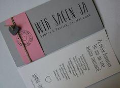 Hochzeitskarte FELINA grau/pink mit Schrift Vintage und Texteinlage