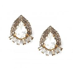 Oversized Oval Crystal Stud  - Gold