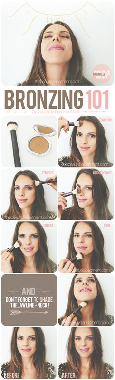 bronzing guide - put on bronzer where the sun naturally hits your face, not all over!