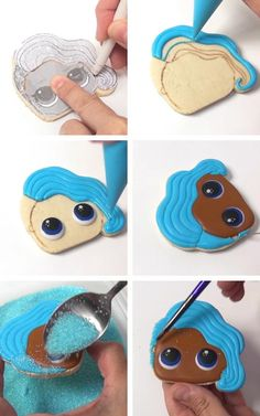 LOL Surprise Doll Cookies [Templates] Decorating Mermaid Doll Cookie with royal icing. Fancy Cookies, Royal Icing Cookies, Custom Cookies, Cupcake Cookies, Royal Icing Templates, Royal Icing Transfers, Cake Decorating Tutorials, Cookie Decorating, Lol Doll Cake